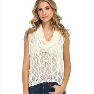 Free People Cowl Neck Lace Top